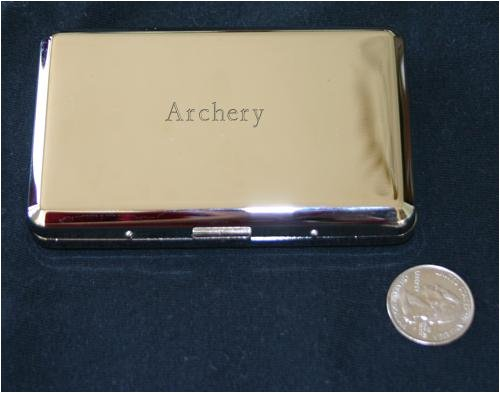 Smooth engraved nickel cigarette case with Archery