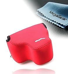 MegaGear Ultra Light Neoprene Camera Case Bag with Carabiner for Canon PowerShot SX60 HS Digital Camera (Red)