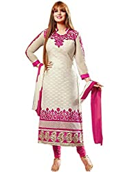 Zbuy Pink and White Cotton Embeoidered Unstitched Salwar Suit Dress Material