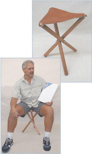Jack Richeson Three Leg Wood Artist Folding Stool, Saddle Leather