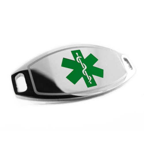 My Identity Doctor - Gluten Allergy Medical Alert ID Tag, Attachable To Bracelet, Green Symbol Pre-Engraved