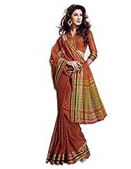 Orange Color Cotton Blend Saree By Roop Kashish ( Devina )