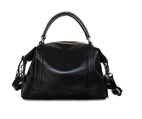 New Fashion High Quality Top Layer Leather Shoulder Handbag 021006 (Black)
