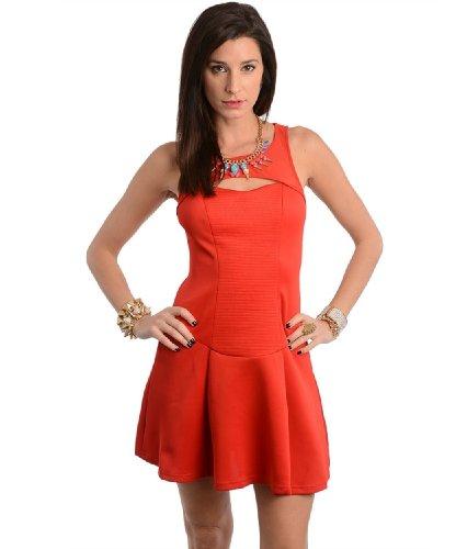 2Luv Women'S Cut Out Drop Waist Flared Dress Red S(K1349)