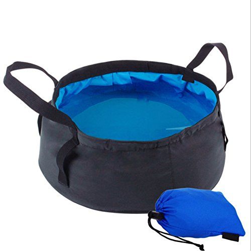 Multifunctional Collapsible Travel Outdoor Camping Hiking Wash Basin Folding Bucket With Bag (Silicone Grate Feet compare prices)
