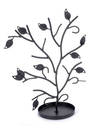 Jewelry Tree Table Top Décor Earrings Holder / Bracelets Necklace Organizer Stand Display Tower - Matte Black Metal