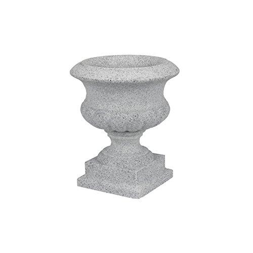 Pflanzpokal-Amphore-Pflanzgef-Vase-Schale-Deko-grau-rund-D-28-cm-Kunststoff