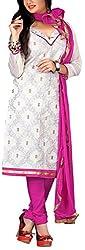 Fabiola Trendz Women's Cotton Silk Unstitched Dress Material (White )