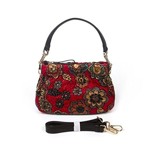 BAIGIO-Fashion-Women-Luxury-Genuine-Pigskin-Leather-Handbag-Flower-Figure-Purse-Shoulder-Bag