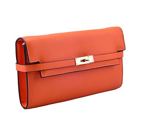 Anifeel Women's Leather Evening Clutches Mini Handbags Purses (Orange)