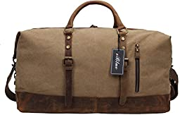 Iblue Weekend Duffle Bag Upgraded Canvas Leather Travel Sports Bag 21 Inch #B008 (XL, khaki)
