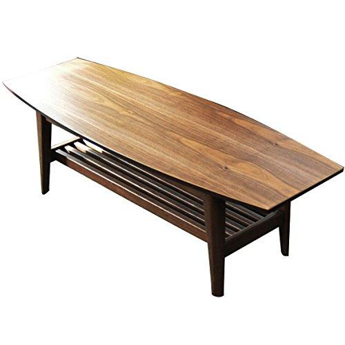 エムール ウォールナット突き板 棚付き リビングテーブル