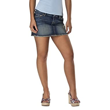 Product Image Mossimo Supply Co. Juniors Jean Mini Skirt w/ Frayed Hem - Medium Vintage Wash