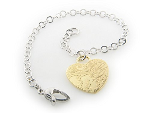 Sterling Silver Italian Tapestry Gold Heart Charm Bracelet (Anillos Del Pie compare prices)