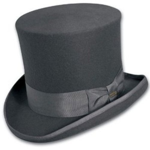 Top Hat Victorian Scala Tuxedo Mad Hatter 100% Wool Dress Hat Grey Large