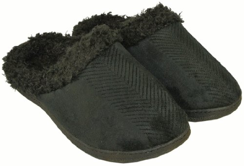 Image of Iso by Isotoner Holiday Clog Slippers Slip On In Black Size Medium Fits Ladies Shoe Size 7.5-8 (B009CX5EIO)