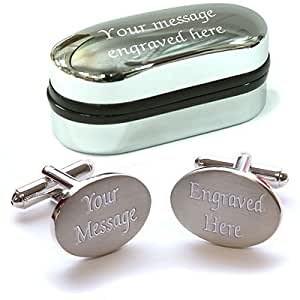 Personalised Chrome / Satin Cufflinks with Personalised Chrome Presentation Case