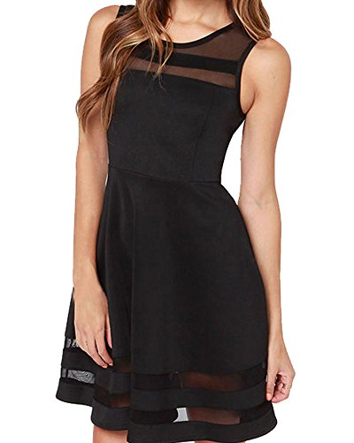 Face N Face Women's Mesh Slim Sleeveless Short Mini Flare Dress Small Black
