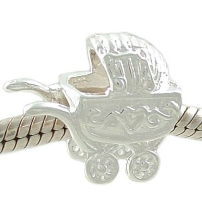 Petite Baby Carriage Pram 925 Sterling Silver Bead Fits European Charm Bracelet back-178462