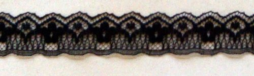 200 YARDS OF 5/16 FLAT BLACK SCALLOP LACE TRIM