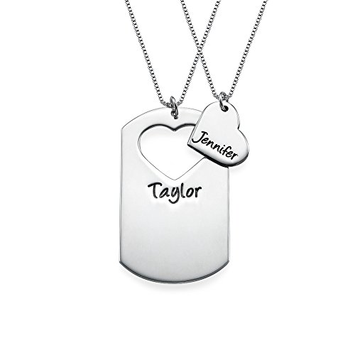 Couples Dog Tag Necklace With Cut Out Heart - Custom Made with Any Name! (Personalized Dog Tags For Couples compare prices)