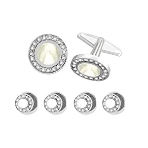 Round Shaped Tuxedo Stud Sets with Center Mop with Surrounding Crystals