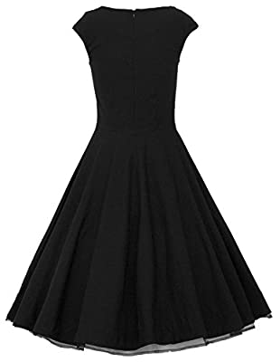 MUXXN® Women 1950s Vintage Retro Capshoulder Party Swing Dress