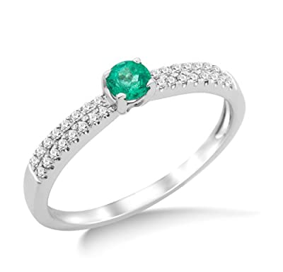 Miore 9ct White Gold Emerald and 0.30ct Diamond Shoulder Set Engagement Ring SA962R