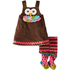 Mud Pie Baby-Girls Newborn Owl Jumper with Tights, Multi, 12-18 Months