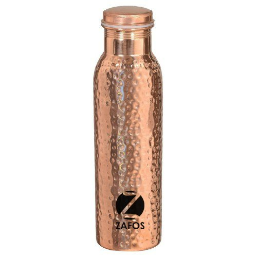 Zafos Hammered Copper Yoga Water Bottle or Thermos Flask 34oz Capacity with 99.5% Purity- Handmade,Joint Free & Leak Proof for Ayurvedic Health Benefits,Sports,Gym,Yoga & Travel (Emergency Drinking Water Flask compare prices)
