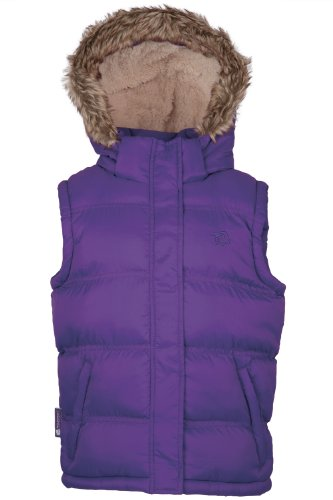 Mountain Warehouse Beglin Kids Padded Gilet Top Insulated Hooded Bodywarmer with Pockets Purple 9-10 years