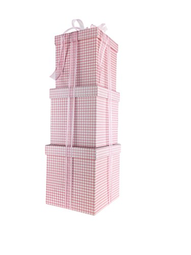 Gingham Design Nested Boxes - Set of 3 for Baby Shower, Weddings, and Any Party (Gingham Pink) (Pink Gift Boxes compare prices)
