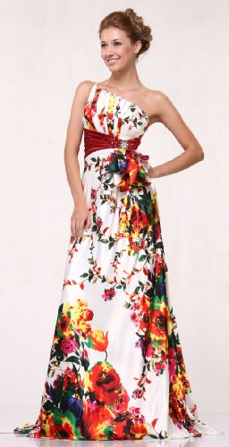 Image of DM0002 Print Satin One Shoulder Pageant Prom Dress