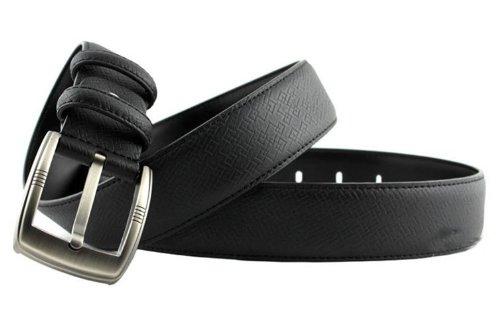 CA Men's Pin Buckle Cowskin Belt Color Black Size Medium