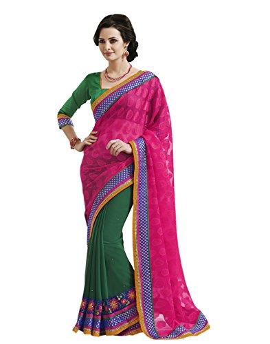 Shanvi Ethnics Pink Brocade Georgette Partywear Embroidered Sarees Sari+Blouse Piece