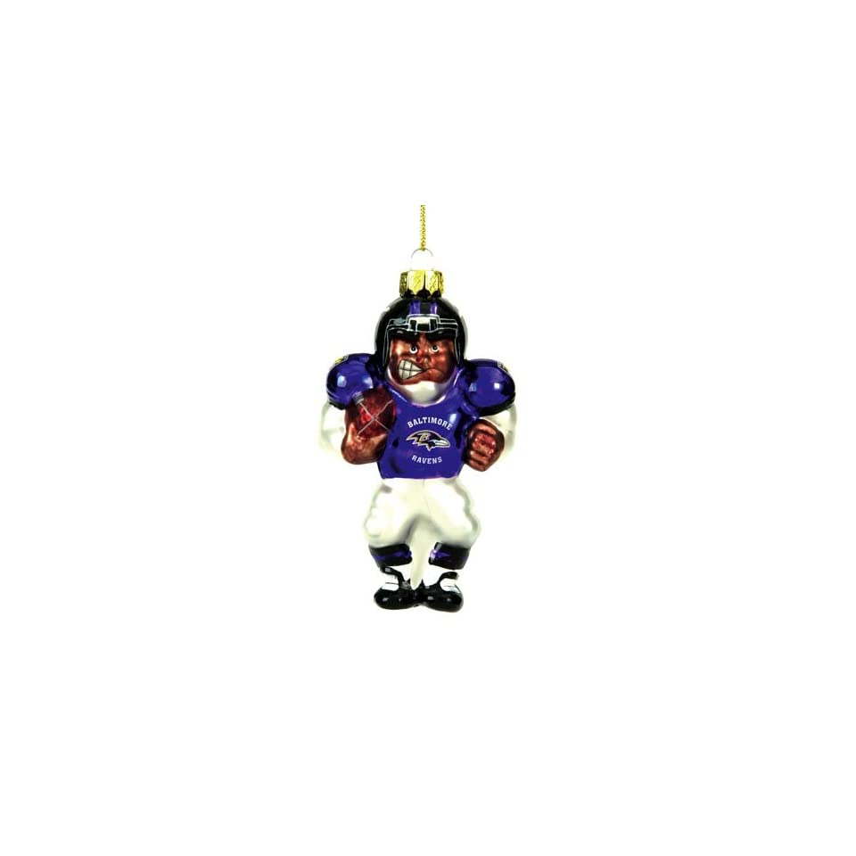 Baltimore Ravens NFL Glass Player Ornament (4 African American)
