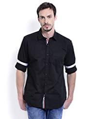 Sting Black Solid Full Sleeve Slim Fit Cotton Casual Shirt For Men