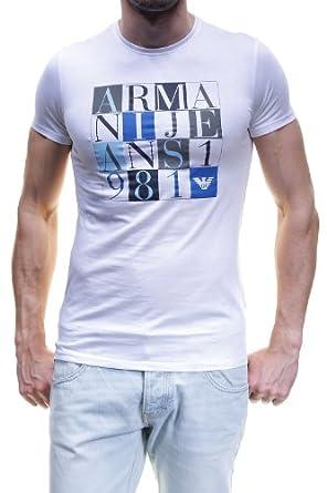 Armani Jeans - T Shirt V6h22 10 Bianco - Taille L - Couleur Blanc