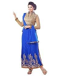 Surat Tex Blue & Beige Color Party Wear Embroidered Soft Net Semi-Stitched Anarkali Suit-H983DL2056