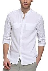 BYLUNTA Men's Linen & Cotton Long Sleeve Collarless Shirt
