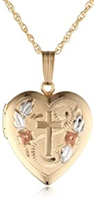 14k Yellow Gold Filled Engraved Cross Heart Locket, 18
