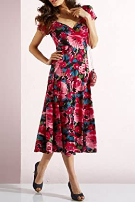 Per Una Rose Print Stretch Jersey Dress [T62-9698G-S]
