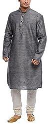 Libas Designs Men's Cotton Jute Kurta (LIBKUR023, Grey, 44)