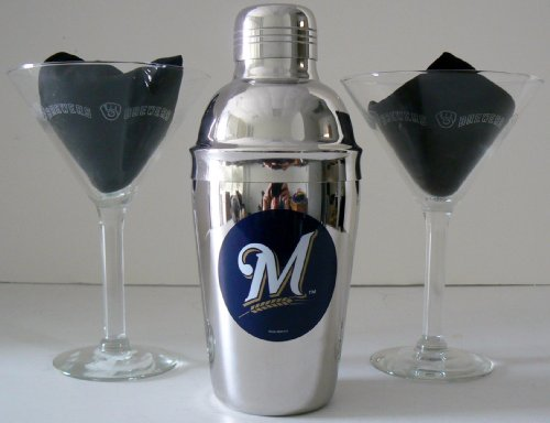 Mlb Officially Licensed Milwaukee Brewers Martini Gift Set front-511182