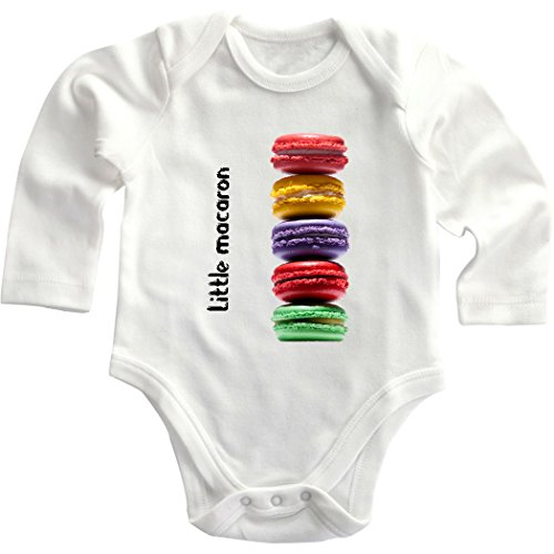 Funny Little Macaroon Cake Cotton Baby Infant Long Sleeve Baby Bodysuit Creeper White 18 Months front-861124