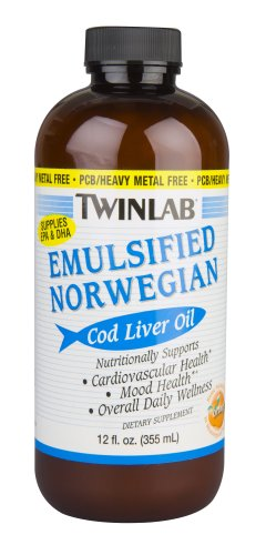 Twinlab Cod Liver Oil, Emulsified Norwegian, Orange, 12 Ounce (Pack of 3)