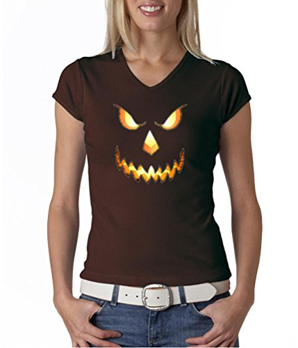 Buy Cool Shirts Ladies Pumpkin Head Halloween V-Neck Shirt