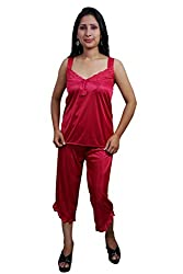 Indiatrendzs Women Sexy Nighty Pink 4pc Set Nightwear Nightwear Robe, Top & Capri