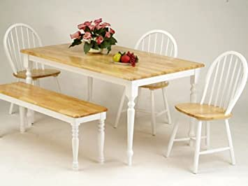 Farmhouse Design Natural and White Solid Wood Table Set ACS20247nw 20613nw 20864nw