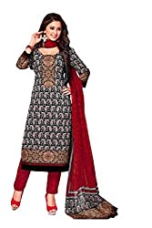 AMP IMPEX Ethnicwear Women's Dress MaterialBlack_Free Size